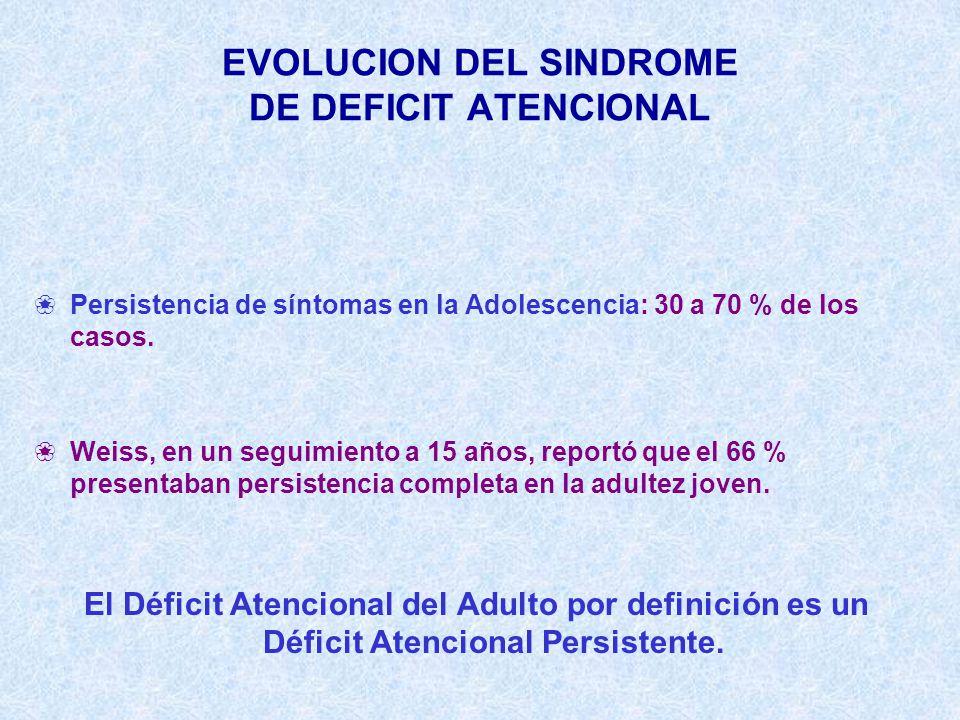 EVOLUCION DEL SINDROME DE DEFICIT ATENCIONAL