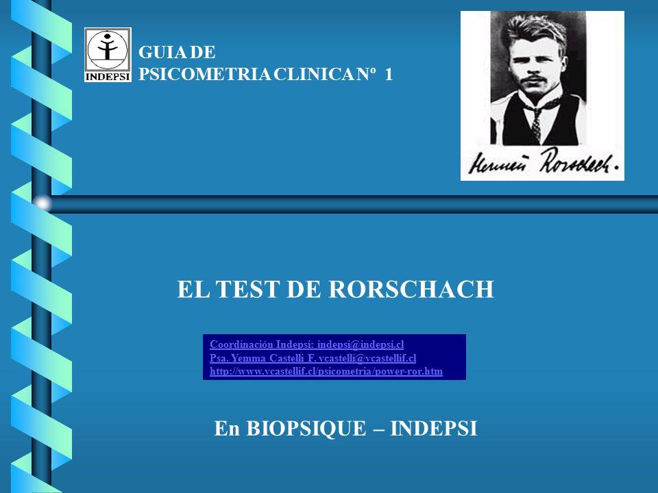 EL TEST DE RORSCHACH En BIOPSIQUE – INDEPSI GUIA DE