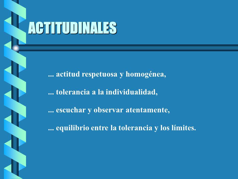 ACTITUDINALES ... actitud respetuosa y homogénea,