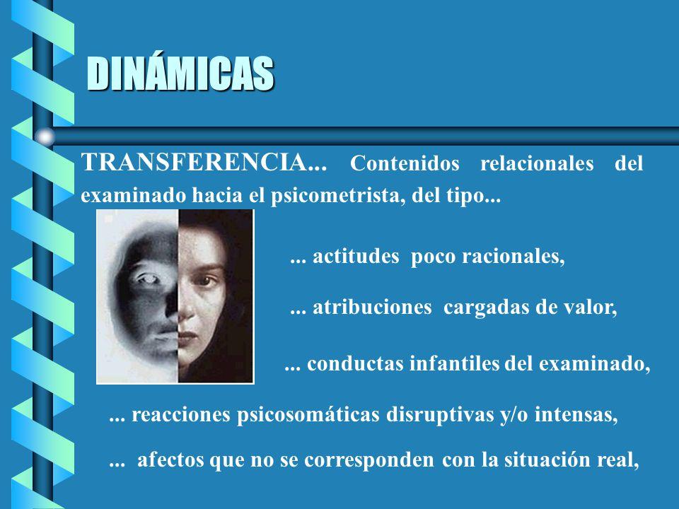DINÁMICAS TRANSFERENCIA... Contenidos relacionales del examinado hacia el psicometrista, del tipo...