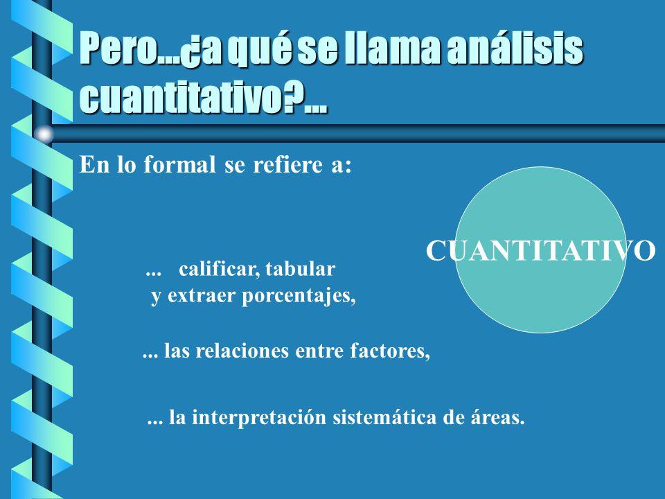 Pero...¿a qué se llama análisis cuantitativo ...