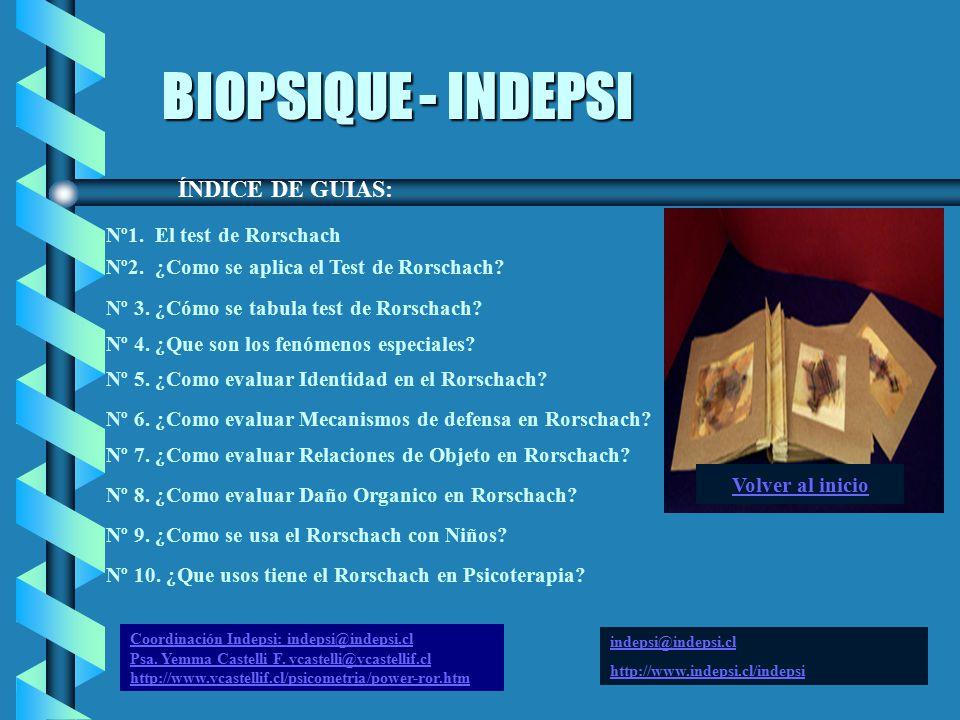 BIOPSIQUE - INDEPSI ÍNDICE DE GUIAS: Nº1. El test de Rorschach