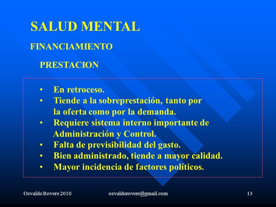 SALUD MENTAL FINANCIAMIENTO PRESTACION En retroceso.