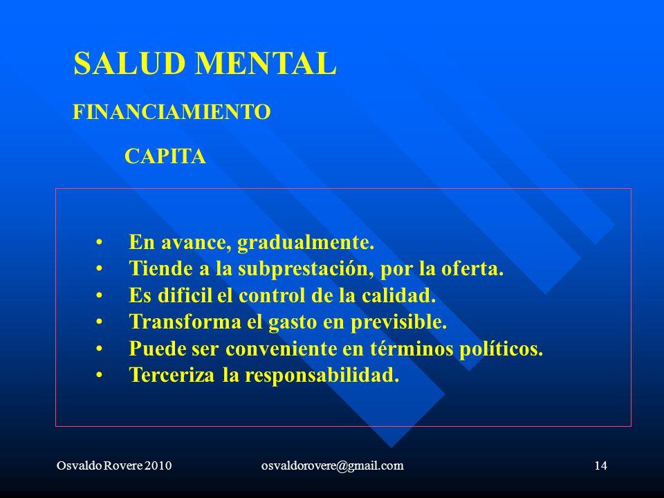 SALUD MENTAL FINANCIAMIENTO CAPITA En avance, gradualmente.