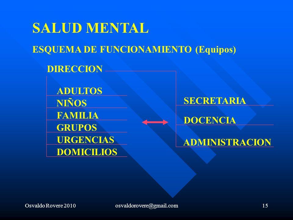 SALUD MENTAL ESQUEMA DE FUNCIONAMIENTO (Equipos) DIRECCION ADULTOS