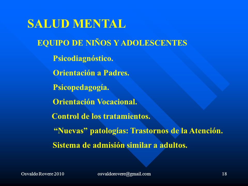 SALUD MENTAL EQUIPO DE NIÑOS Y ADOLESCENTES Psicodiagnóstico.