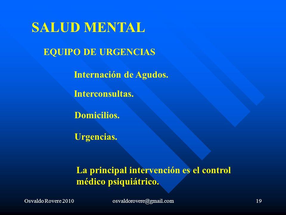 SALUD MENTAL EQUIPO DE URGENCIAS Internación de Agudos.