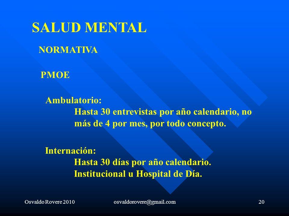 SALUD MENTAL NORMATIVA PMOE Ambulatorio: