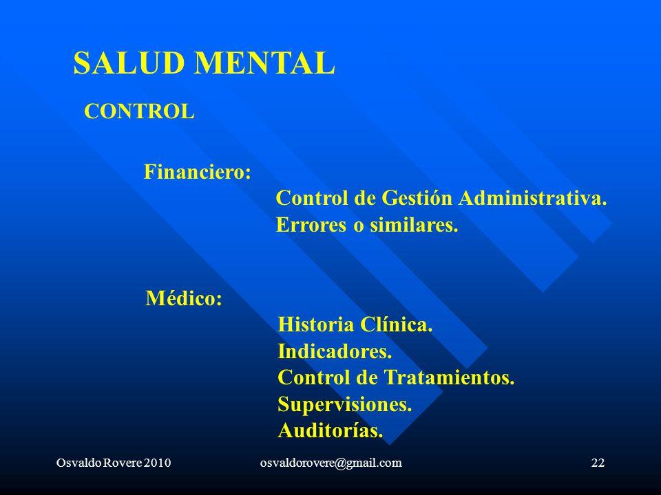 SALUD MENTAL CONTROL Financiero: Control de Gestión Administrativa.