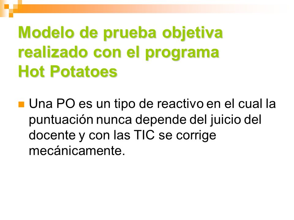 Modelo de prueba objetiva realizado con el programa Hot Potatoes