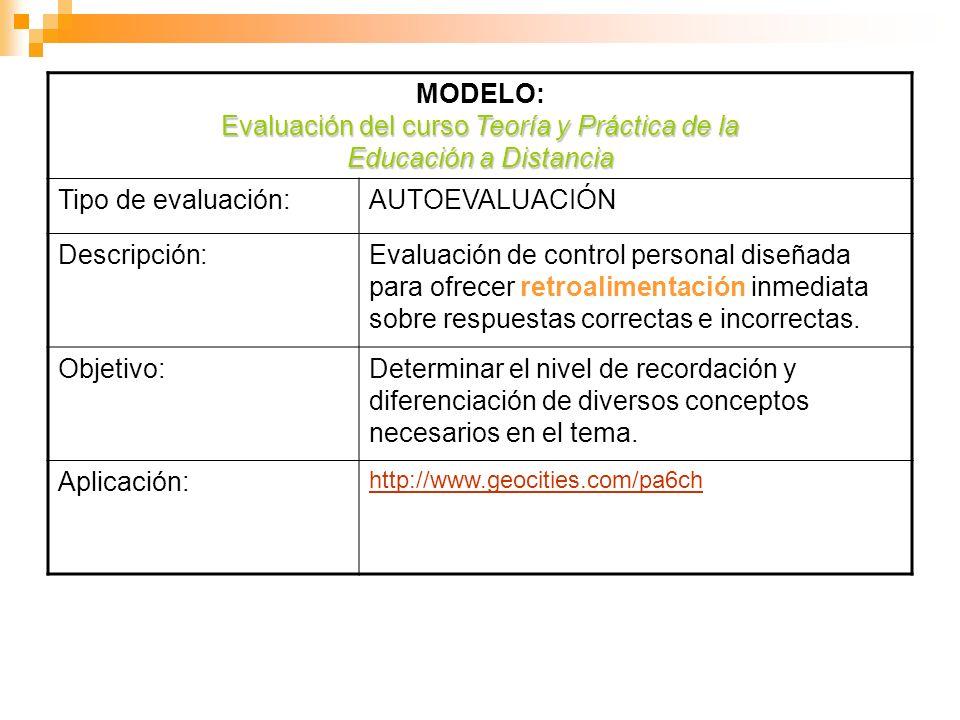 MODELO: Evaluación del curso Teoría y Práctica de la Educación a Distancia