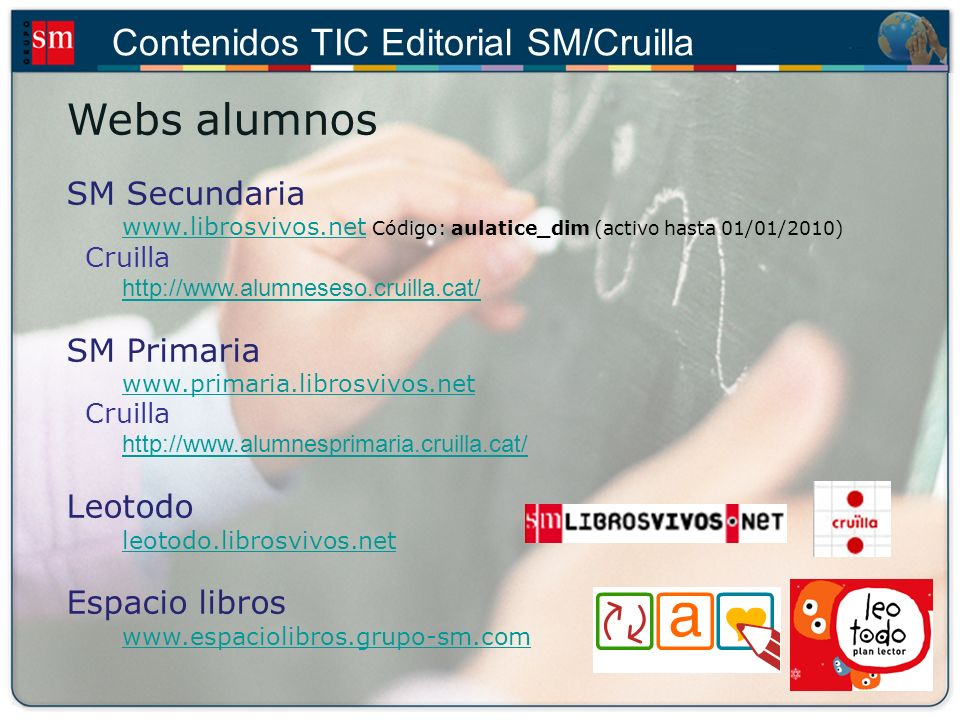 Webs alumnos SM Secundaria SM Primaria Leotodo leotodo.librosvivos.net