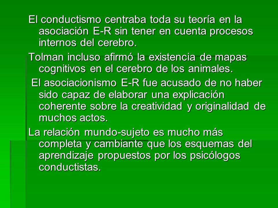 El conductismo centraba toda su teoría en la asociación E-R sin tener en cuenta procesos internos del cerebro.