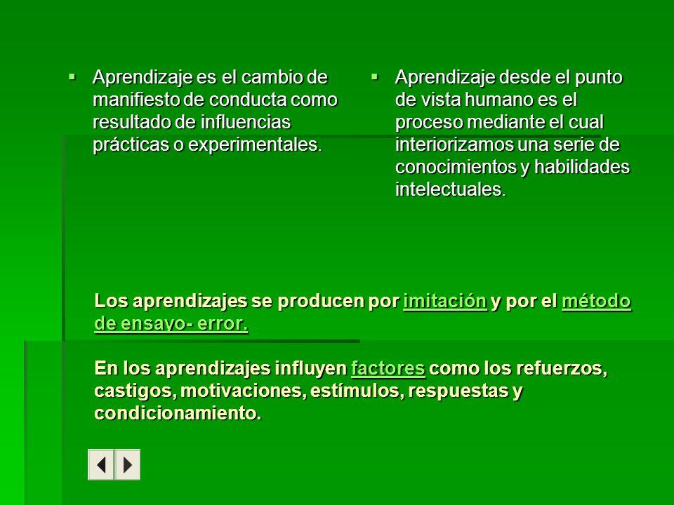 Aprendizaje es el cambio de manifiesto de conducta como resultado de influencias prácticas o experimentales.