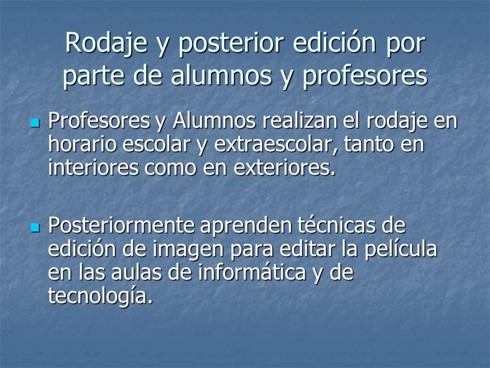 Rodaje y posterior edición por parte de alumnos y profesores