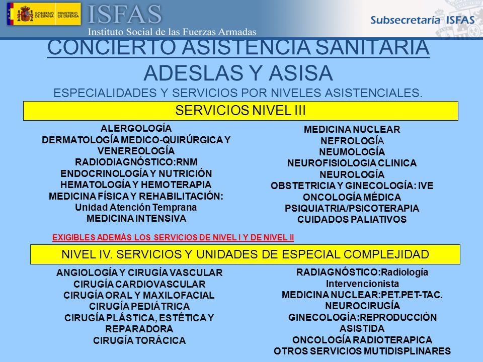 CONCIERTO ASISTENCIA SANITARIA ADESLAS Y ASISA ESPECIALIDADES Y SERVICIOS POR NIVELES ASISTENCIALES.