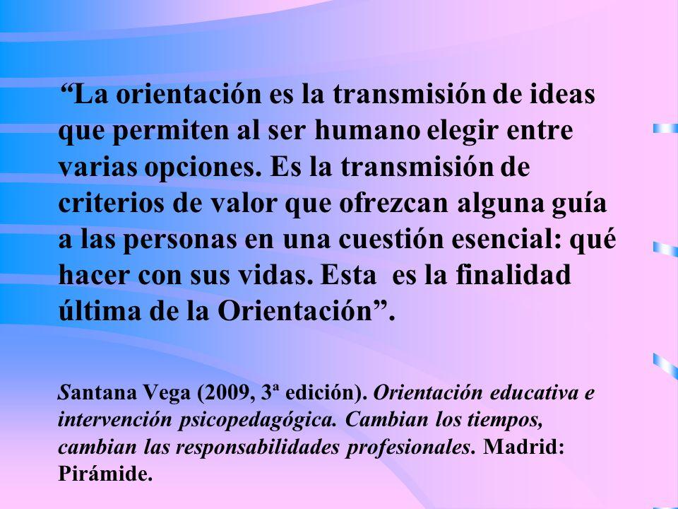 La orientación es la transmisión de ideas que permiten al ser humano elegir entre varias opciones.