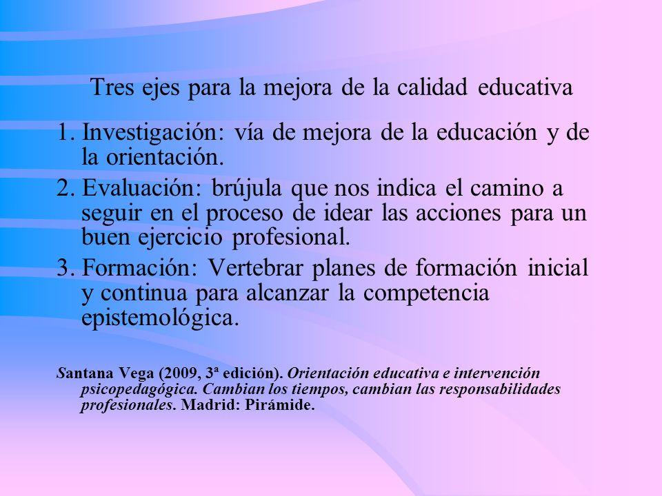 Tres ejes para la mejora de la calidad educativa