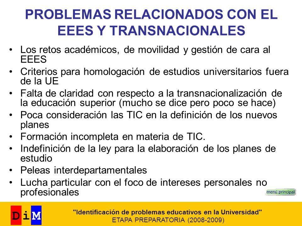 PROBLEMAS RELACIONADOS CON EL EEES Y TRANSNACIONALES