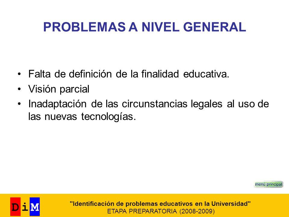 PROBLEMAS A NIVEL GENERAL