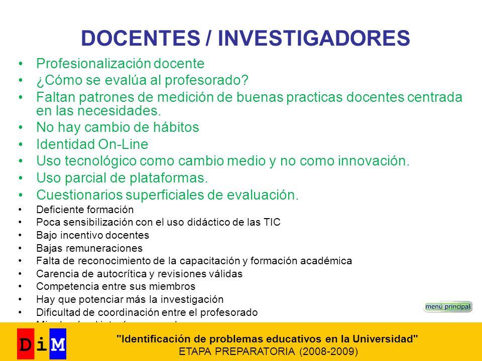 DOCENTES / INVESTIGADORES