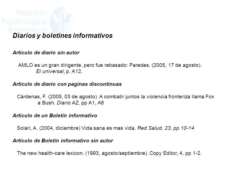 Diarios y boletines informativos