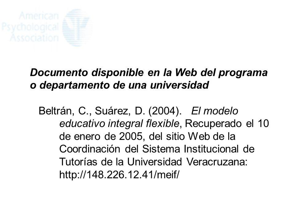 Documento disponible en la Web del programa o departamento de una universidad