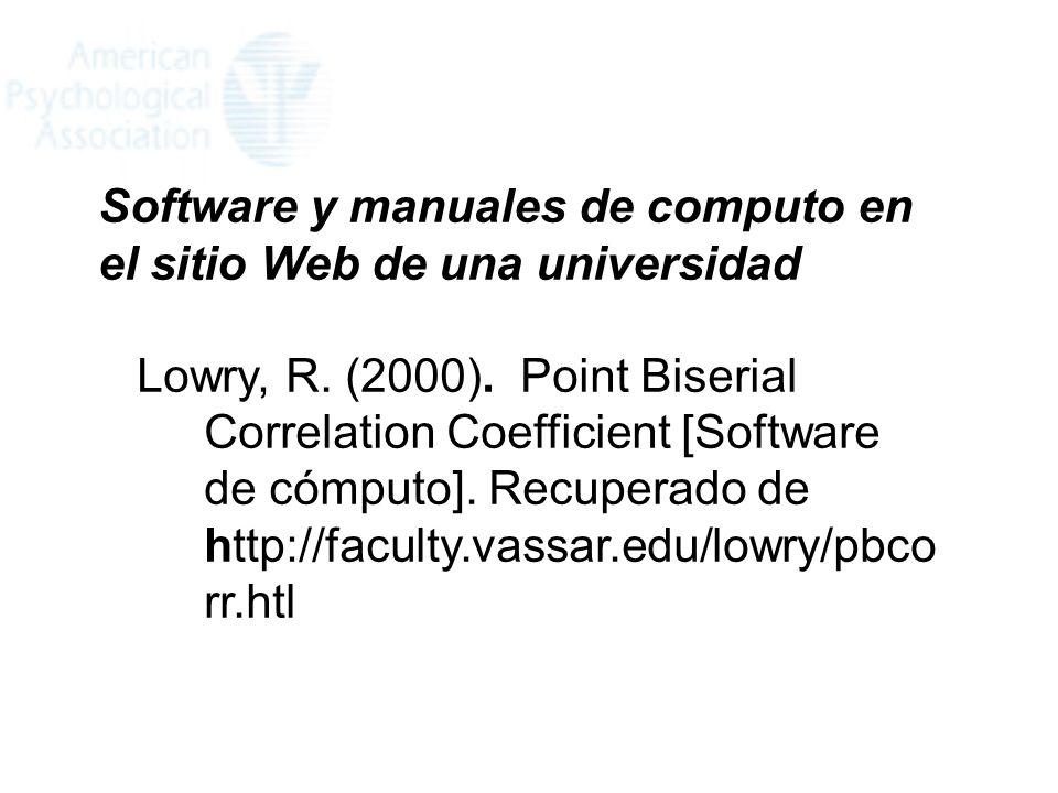Software y manuales de computo en el sitio Web de una universidad