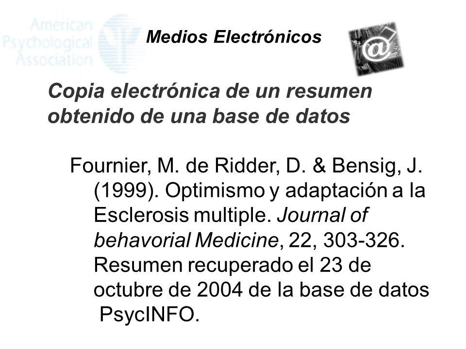 Copia electrónica de un resumen obtenido de una base de datos