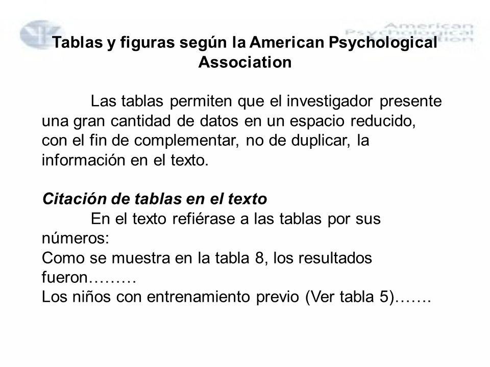 Tablas y figuras según la American Psychological Association