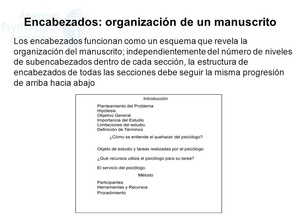 Encabezados: organización de un manuscrito