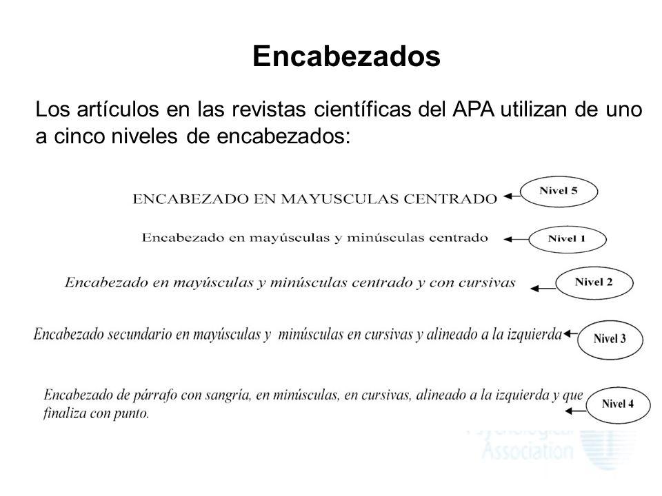Encabezados Los artículos en las revistas científicas del APA utilizan de uno a cinco niveles de encabezados:
