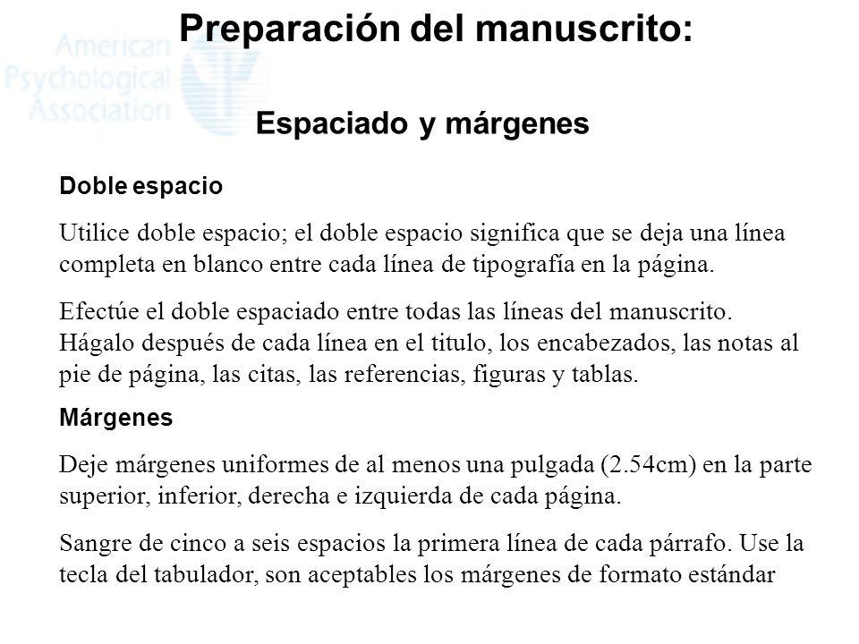 Preparación del manuscrito: