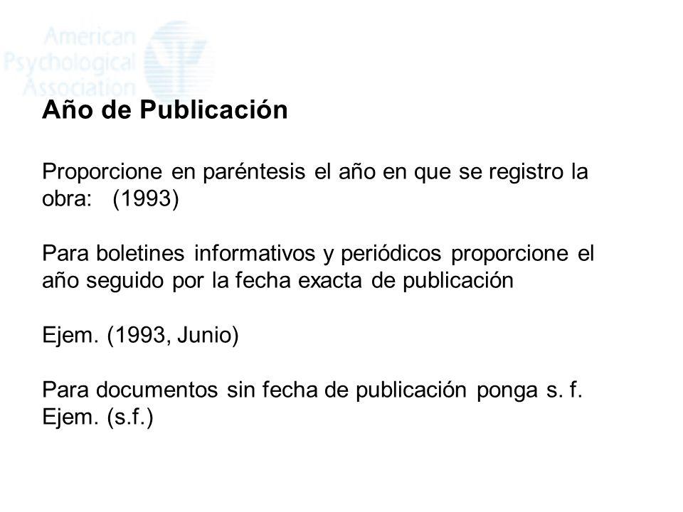 Año de Publicación Proporcione en paréntesis el año en que se registro la obra: (1993)