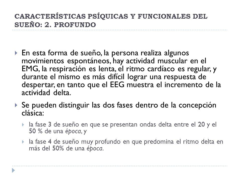 CARACTERÍSTICAS PSÍQUICAS Y FUNCIONALES DEL SUEÑO: 2. PROFUNDO