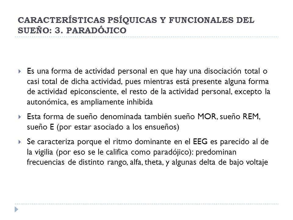 CARACTERÍSTICAS PSÍQUICAS Y FUNCIONALES DEL SUEÑO: 3. PARADÓJICO