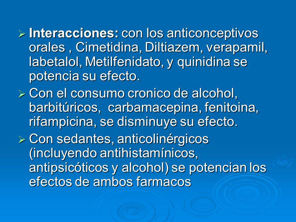 Interacciones: con los anticonceptivos orales , Cimetidina, Diltiazem, verapamil, labetalol, Metilfenidato, y quinidina se potencia su efecto.