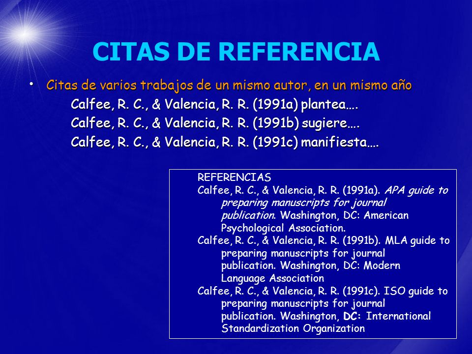 CITAS DE REFERENCIA Citas de varios trabajos de un mismo autor, en un mismo año. Calfee, R. C., & Valencia, R. R. (1991a) plantea….