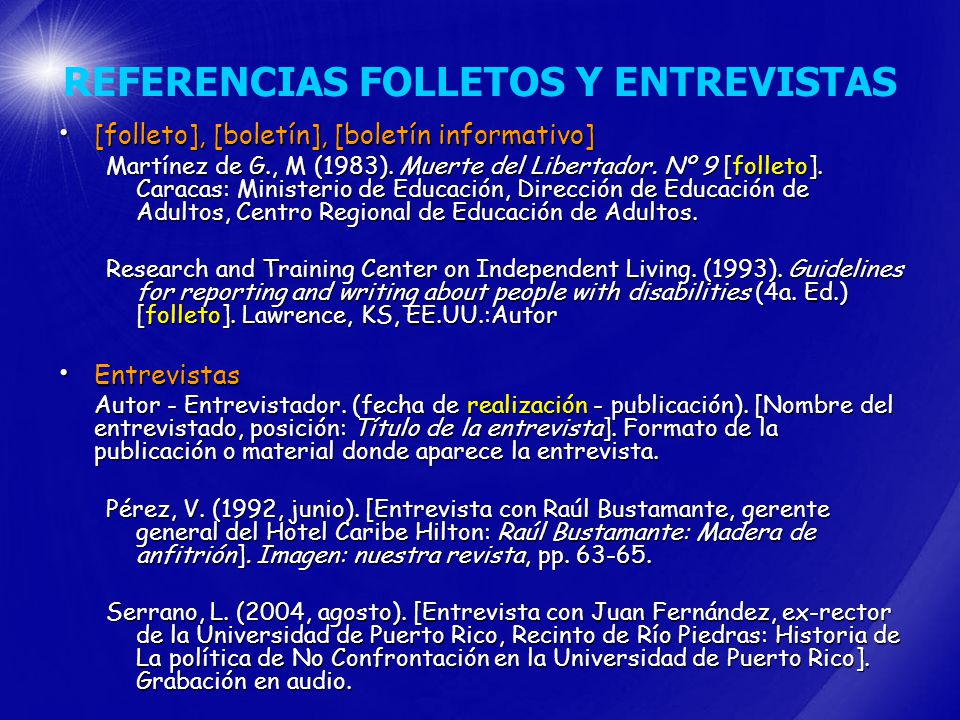 REFERENCIAS FOLLETOS Y ENTREVISTAS