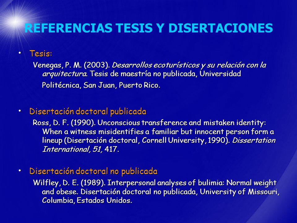 REFERENCIAS TESIS Y DISERTACIONES
