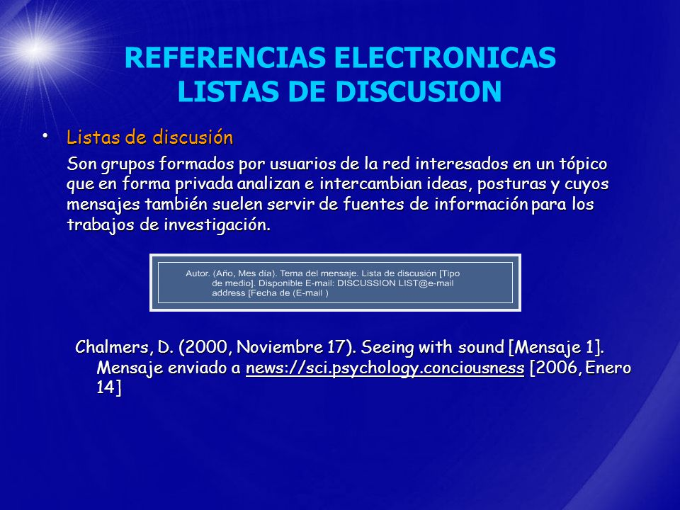 REFERENCIAS ELECTRONICAS LISTAS DE DISCUSION