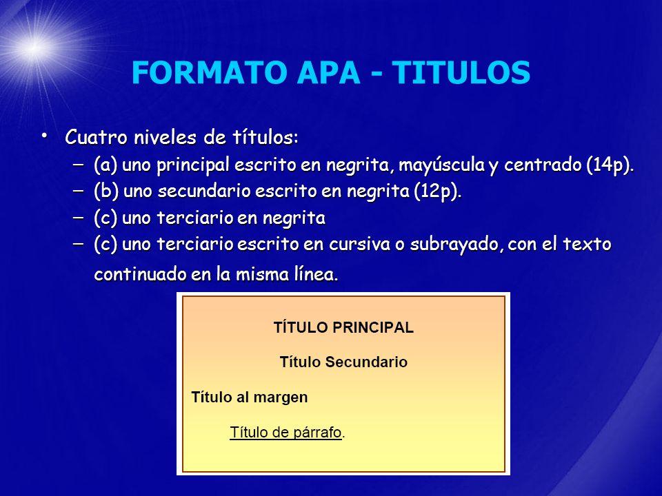 FORMATO APA - TITULOS Cuatro niveles de títulos: