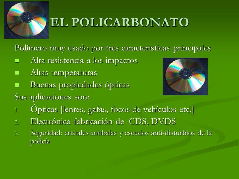 EL POLICARBONATOPolímero muy usado por tres características principales. Alta resistencia a los impactos.
