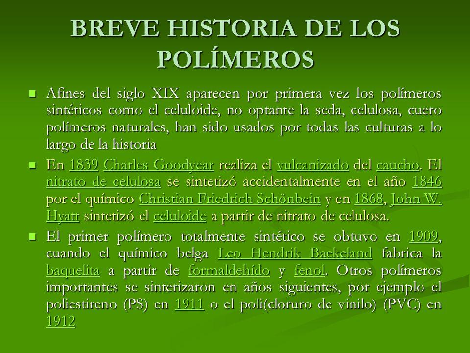 BREVE HISTORIA DE LOS POLÍMEROS