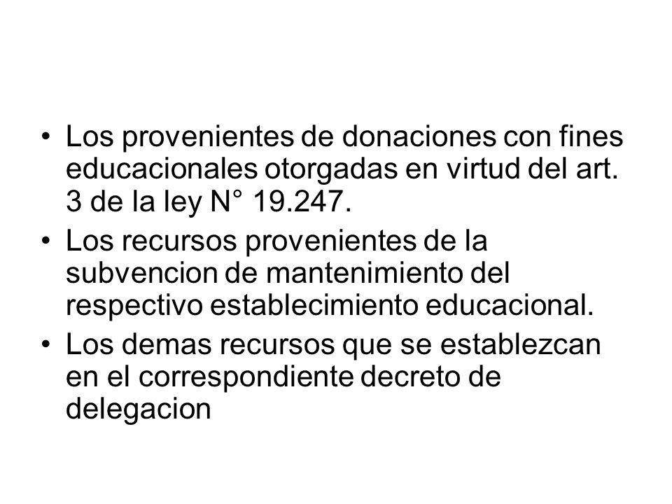 Los provenientes de donaciones con fines educacionales otorgadas en virtud del art. 3 de la ley N° 19.247.