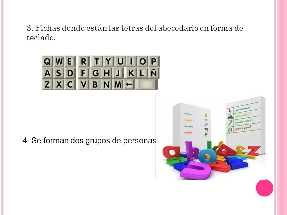 3. Fichas donde están las letras del abecedario en forma de teclado.