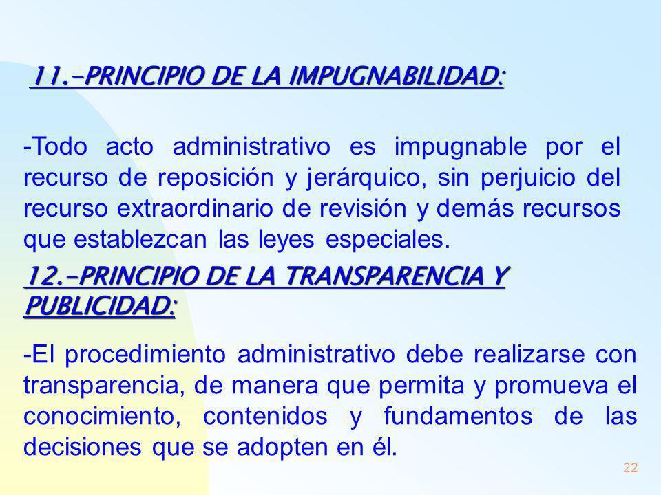 11.-PRINCIPIO DE LA IMPUGNABILIDAD: