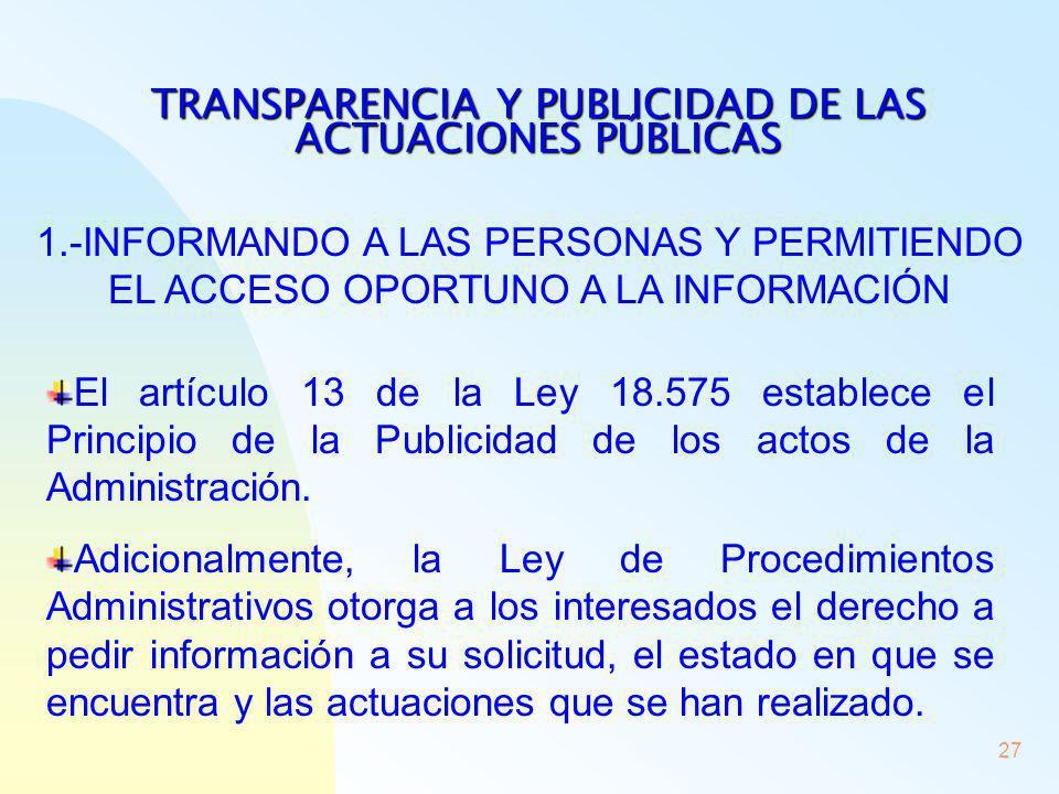 TRANSPARENCIA Y PUBLICIDAD DE LAS ACTUACIONES PÚBLICAS