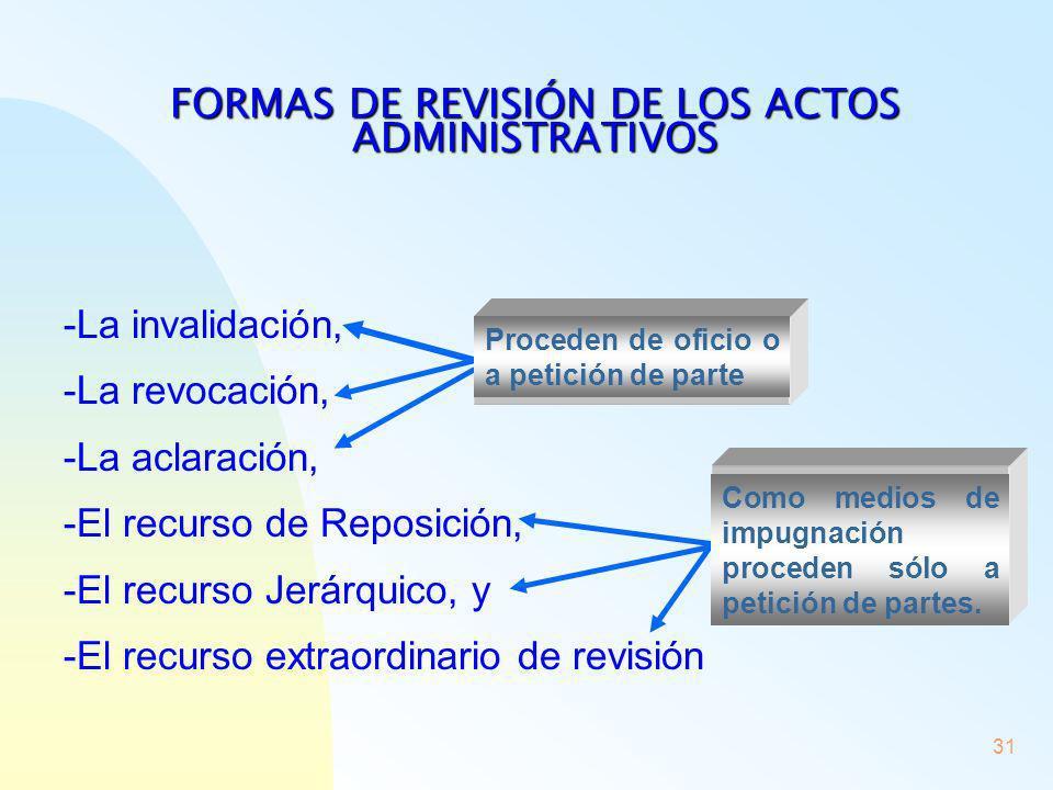 FORMAS DE REVISIÓN DE LOS ACTOS ADMINISTRATIVOS