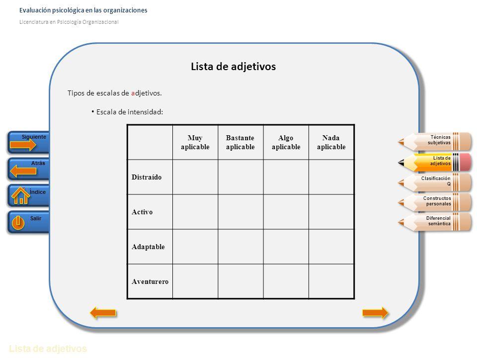 Lista de adjetivos Lista de adjetivos Tipos de escalas de adjetivos.